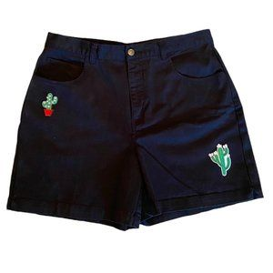 Vintage high waist black shorts cactus patches